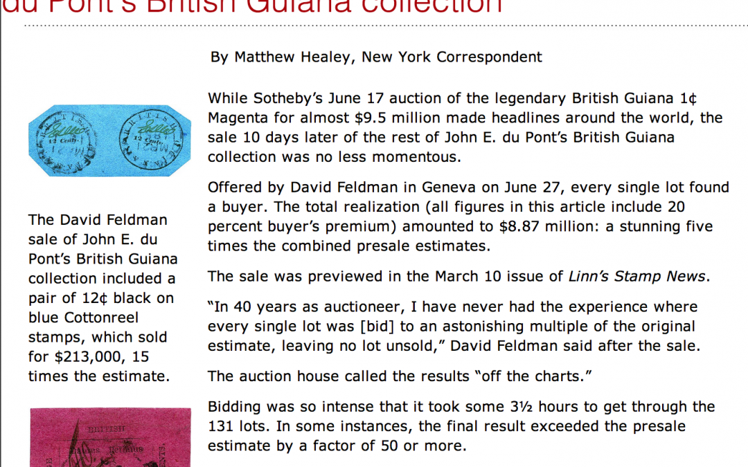 Press article: Off the charts results for Feldman sale