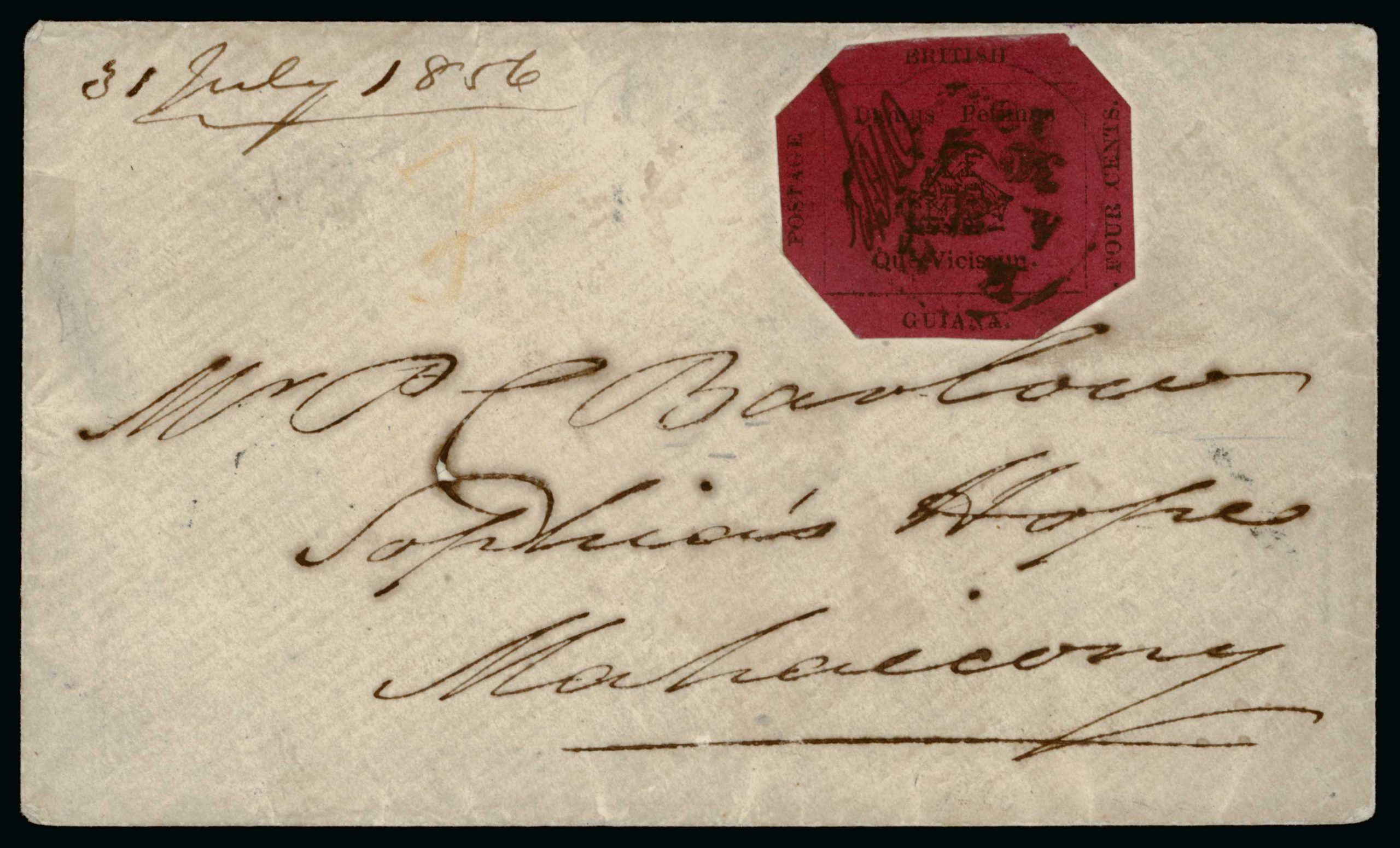 """THE """"DU PONT"""" 4 CENTS MAGENTA VILLAGE COVER. One of only four 4 cents magenta covers recorded with a village postmark."""